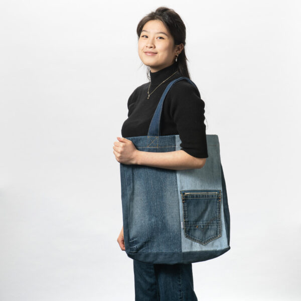 denim tas met zakje
