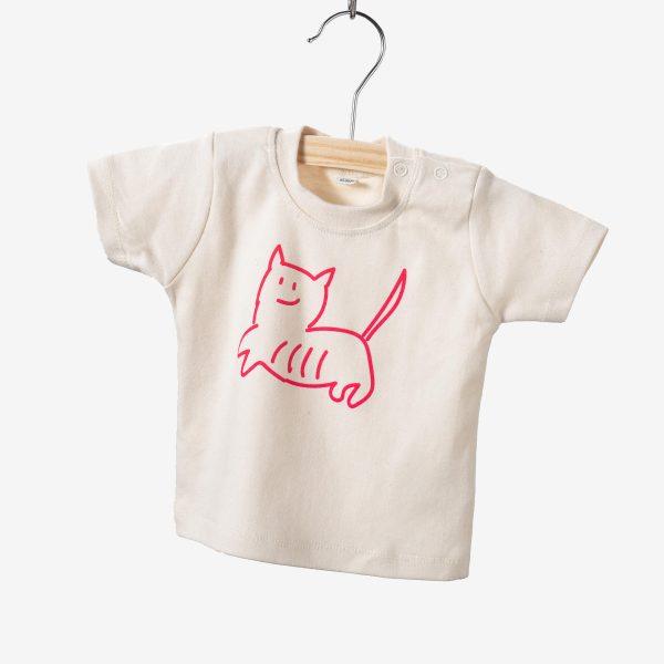Handgemaakt baby t-shirt kat
