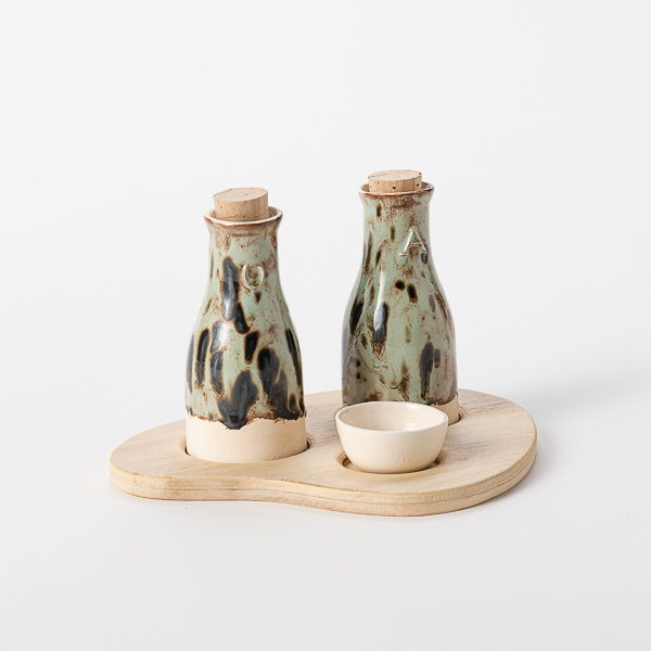 aardewerk olie en azijnset
